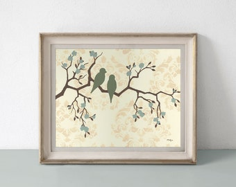 Love Bird Prints, Cottage Chic Home Decor, Damask and Flowers, 11 x 14 inches