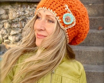 JUMBO SLOUCHY Beanie hat in PUMPKIN orange Crochet slouch hat Dragonfly button hand made baggy Hat Women slouchy Beanies orange Beret GPyoga