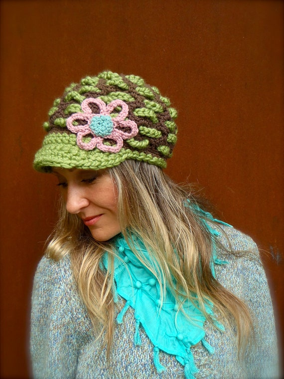 GAIA Slouchy Beanie crochet slouch hat FLOWER cap NEWSBOY hat Pea Green hat Hippie gypsy funky hat