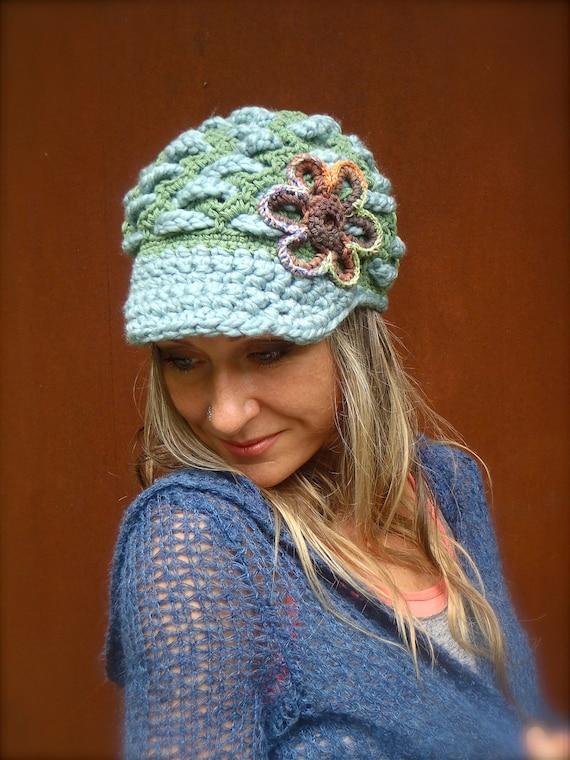 green SLOUCHY beanie crochet Slouch hat FLOWER cap NEWSBOY hat Bohemian hat interwoven pattern Hippie Gypsy Funky hat green steel blue