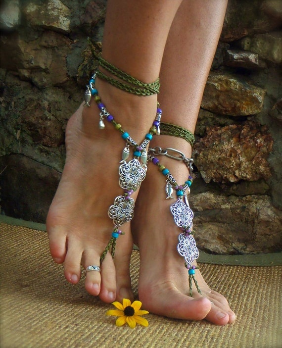 GAIA BAREFOOT sandals Army Green ANKLETS Gypsy Sandals sole less shoes Crochet anklets Antique flowers