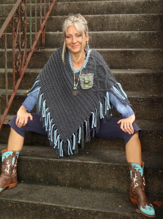 FRINGE PONCHO, steel blue Grey Poncho, BOHEMIAN sweater, Women ponchos, eco friendly