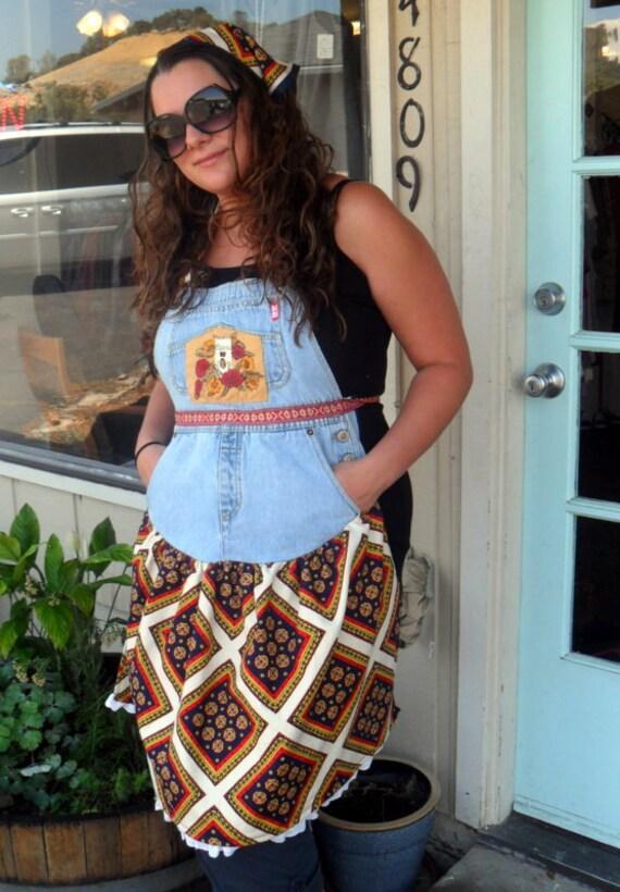 Upcycled Apron Boho Market Apron Eco Friendly Hippie Girl On Sale