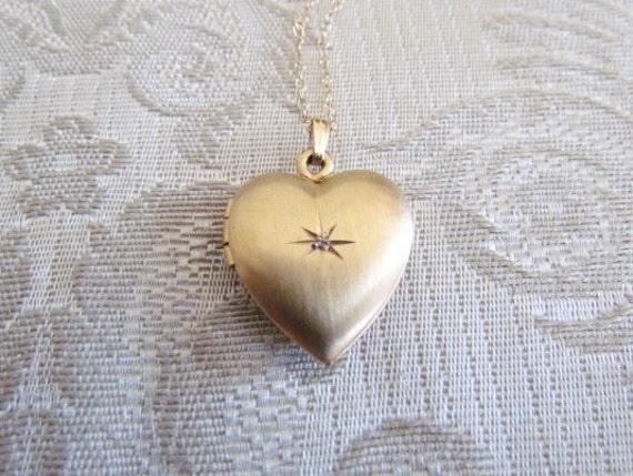 SALE - Locket / Heart Shaped Locket with Diamond Chip c.1960s