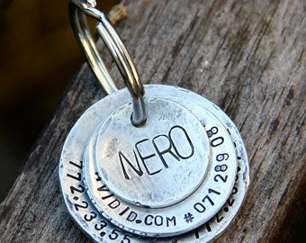 Custom Pet ID Tag - Nero - in Distressed Triple Domed Aluminum