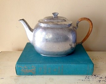 Just Andersen Teapot, Vintage Teapot, Pewter Teapot, Vintage Pitcher. Denmark Rattan Handle Scandinavian Design