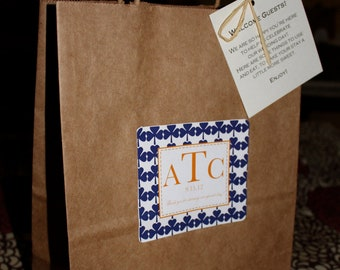 Wedding Welcome Bags Classic Style Guest Bag with Clovers Navy Blue and Orange Individual Bag Order