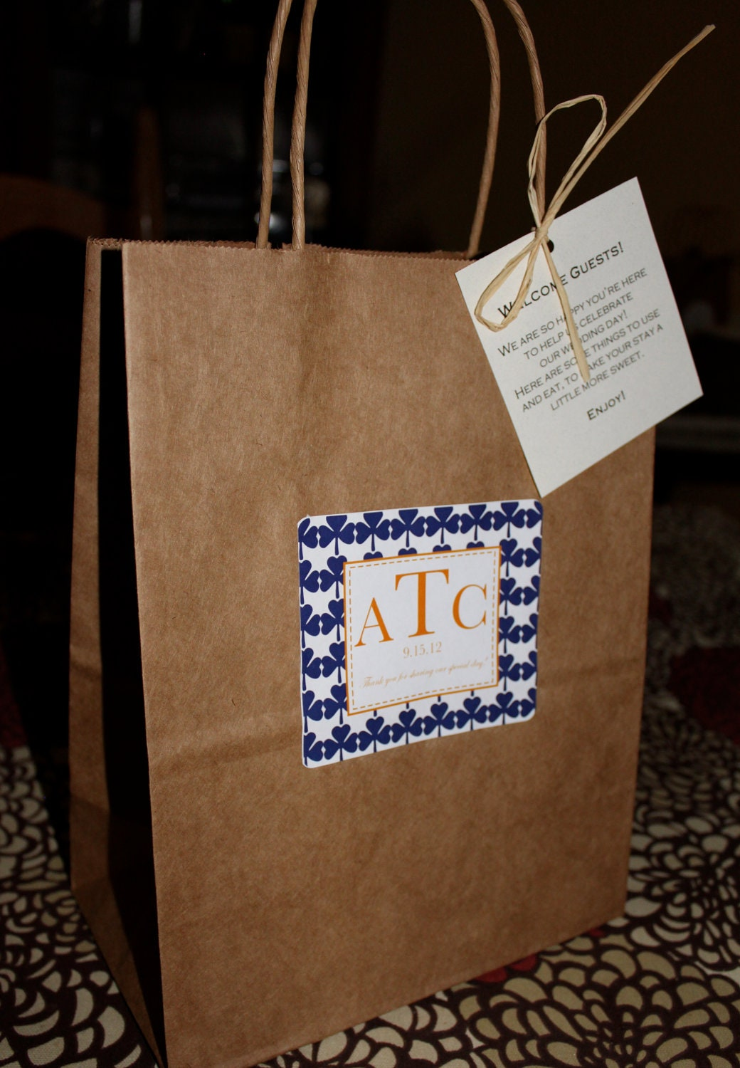 wedding welcome bags classic style guest bag with clovers navy
