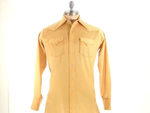 Mens 70s Mustard Yellow Snap Button Western Cowboy Polyester Shirt Medium