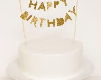 Happy Birthday Cake Topper (Gold Glitter)