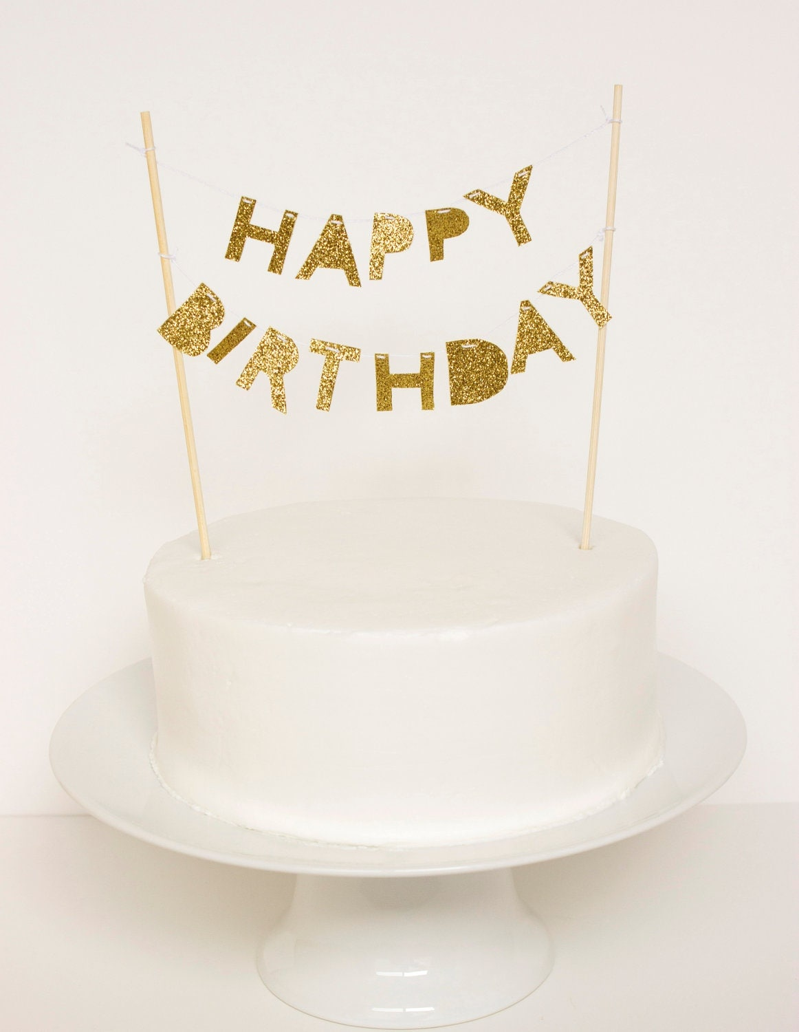Cake Toppers For Birthday : Happy Birthday Cake Topper Gold Glitter