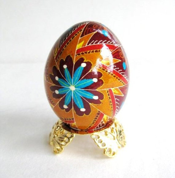 rown and turquoise Pysanka, ukrainian Easter egg, chicken egg shell hand painted batik style
