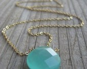 Sea Green Chalcedony Pendant Necklace