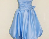Vintage-DEADSTOCK-Blue-Strapless-Bustier-Junior Dresses-Blue Prom Dress-Bubble Skirt Dress-Size 4