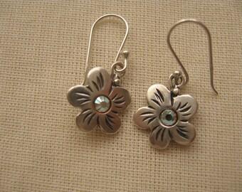 Silver Flower Earrings, Teen Jewelry, Simple everyday earrings, Small Flower Earrings, Dangle and Drop Earrings, Dangle Dainty Earrings