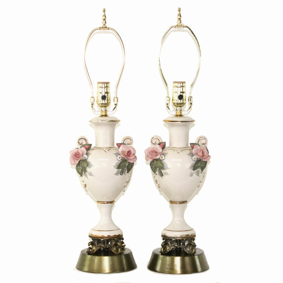 PAIR Antique Hand-Painted Porcelain Lamps by Cordey . Cottage Chic 1940s