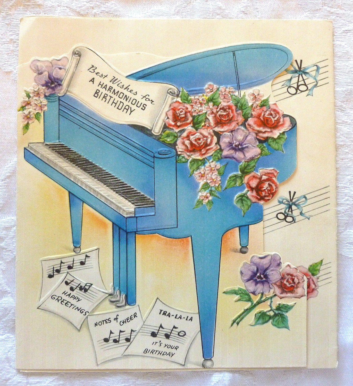 Vintage Birthday Card Best Wishes for a Harmonious – Musical Cards for Birthday