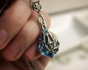 Aged Silver Swarovski Necklace - Aquamarine - Blue - Victorian - Nouveau - Wedding - Bridal - Holidays - Christmas - December