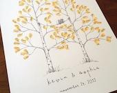 Fingerprint Tree Wedding Guest Book Alternative, Original Hand-drawn Medium or Large Twin Aspen Design (ink pads sold separately)