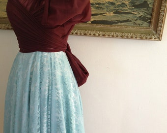 "Ready to Ship~ 24"" Standard~ Captain's Wine Chiffon with Aqua Lace - Octopus Convertible Wrap Dress- Bridesmaids-Holiday"