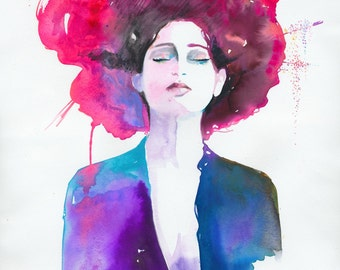Fashion Print, Watercolor, Fashion illustration ,Fashion Painting, Cate Parr, Neon Geisha, Fashion Poster, Fashion Wall Art, Fashion art