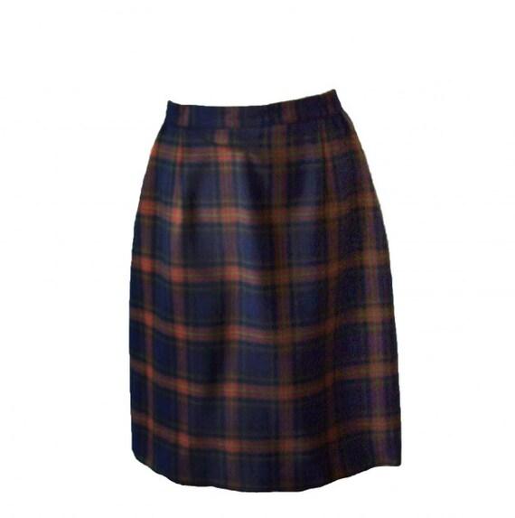 Vintage dark navy blue tartan plaid check pure wool wiggle pencil skirt by Eastex medium