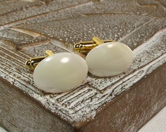 Mens White Mother of Pearl Cufflinks - White Pearl Cufflinks - White Cufflinks