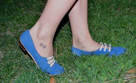 SALE Beautiful Little Fool 60's does 20's SIZE 6 Blue Suede MOD Fancy Little Flapper Shoes
