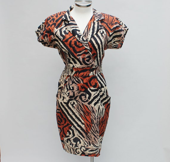 Vintage 80s animal print dress with shoulder pads, XS / small