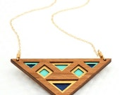 Luxe Layered Triangular Cherry Wood Necklace with Gold, Turquoise and Navy on Gold Filled Chain