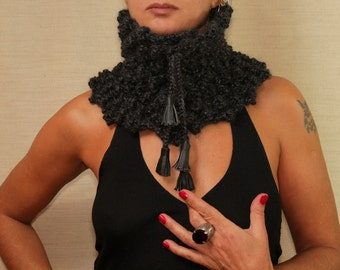 Black Scarf Infinity, Knit Scarf, Alpaca Wool Scarf, Unisex Collar Scarf, Neck Cowl Warmer Dark Charcoal Loop Scarf, Leather Fringe Scarf