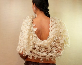 Ivory Bridal Shawl, Bridal Stole, Wedding Shawl Bridal Bolero, Cape Shrug, Oversized Stole, Bridal Dress Cover Up, Wedding Wrap