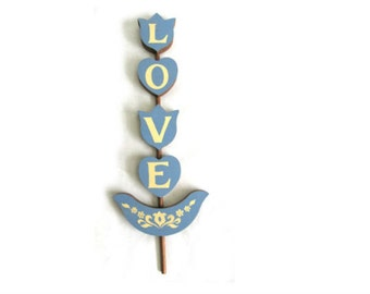 Vintage Love Wooden Wall Hanging - blue and off white