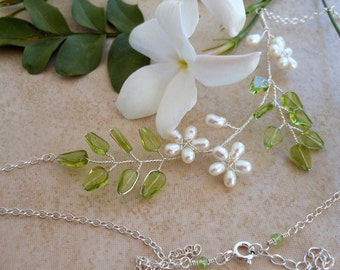 Delicate Necklace Peridot and Pearls Flower Unique Jasmine Wire Wrapped in Sterling Silver