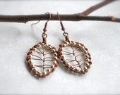 SALE Fall leaf earrings in copper and silver