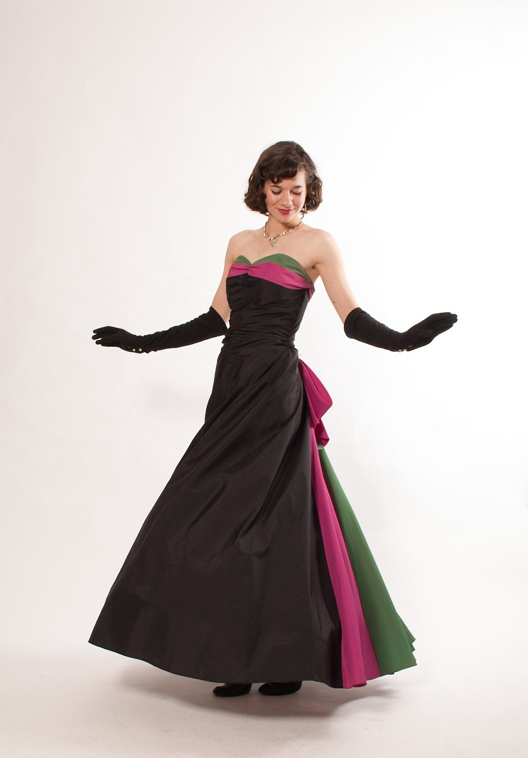 1940s evening gown 40s formal dress black with magenta
