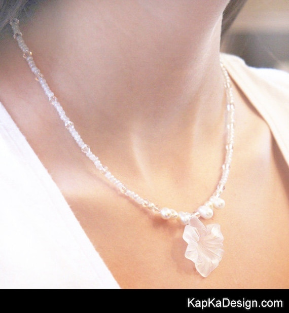 Summer Party Art Nouveau Wedding Necklace White Pearl Necklace Bridal Jewelry Frosted Flower Pendant Swarovski Crystal Necklace Birthday