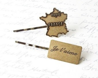 50% OFF SALE Paris Accessories Je Taime France Map Hair Clip French Bobby Pins Marie Antoinette Travel World Traveler Wanderlust Unique Gift