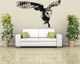 Vinyl Wall Decal Sticker Australian Owl Flying OSAA496s