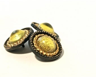 3 Metallic Vintage Buttons - 1950s Plastic Buttons - New Old Stock Buttons - Bronze Buttons - Plastic Shank