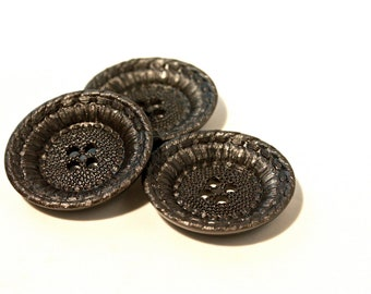 Black Vintage Buttons - 1960s Plastic Buttons - New Old Stock Buttons - Dark Gunmetal Buttons