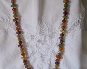 Vintage Faux Gemstone Bead Necklace 70s Jewelry Gem Stones