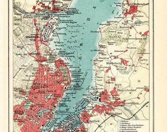1908 edwardian KIEL city map, and kiel port.  Schleswig-Holstein, Germany. 104 years Old lithograph print.