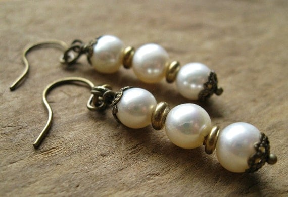 Freshwater Pearl Dangle Earrings, Rustic Earrings with brass and freshwater pearls, June birthstone