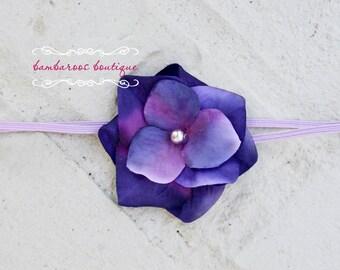 baby flower headband, Newborn Headband, Baby Headband, Purple Blue Small FLower