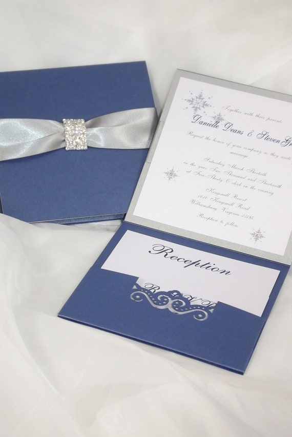 Wedding Invitation Royal Blue and Silver Wedding Invitation