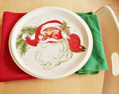 Vintage Santa Trays and Red And Green Christmas Cloth Napkins - Host/Hostess Set