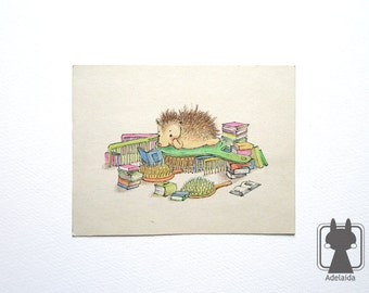 Small illustration - Little hedgehog's obsessions - comb and brush
