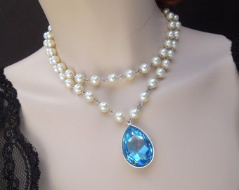 Something Blue Bridal Necklace,Pearl Necklace,Bridal Necklace,Ivory or White pearls,Statement Bridal Necklace,Bridal Rhinestone,Pearl,SAHARA