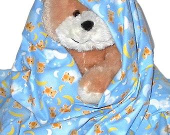 Teddy Bear Moon Flannel Blanket, handmade newborn infant pastel blanky, receiving swaddling